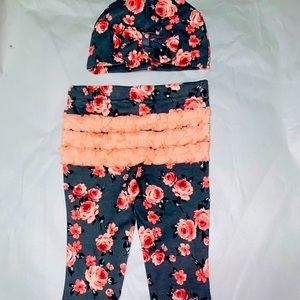 Little lass boutique babygirl pant/hat set 6-9mo